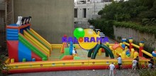 giant inflatable amusement park, inflatable fun city playground