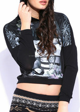 women/girls lace blouse/tops polyester viscose spandex fabric with sublimation hoodie