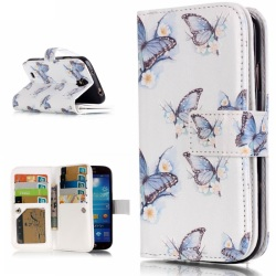 Phone Case For Samsung Galaxy S4 I9505 9 Card Slots Embossment Leather Stand Card Slot Case- Pretty Butterflies