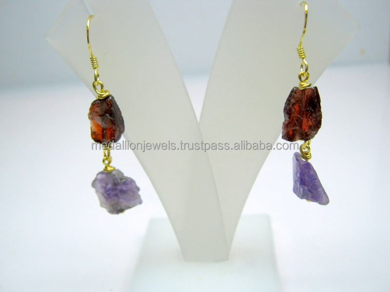 Amethyst & Garnet Raw Gemstone Dangler 925 Sterling Silver Earring Jewelry, Rough Gemstone Dangle Earring