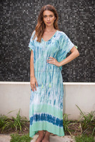 Ladies Beachwear Long Tie & Dye Kaftan Beach Cover Ups Swimsuits