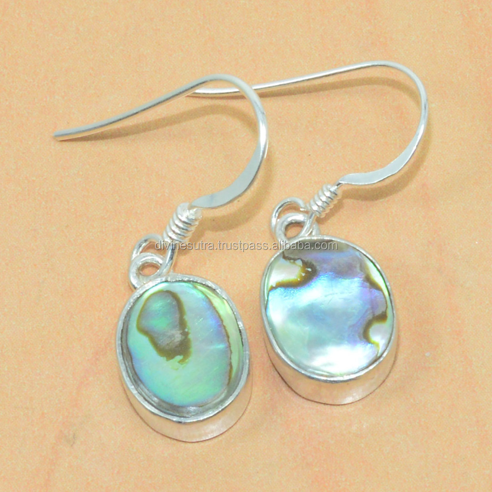 925 Solid Sterling Silver natural abalone shell Women Accessories hook Earring