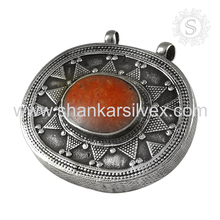 Beautiful Coral Gemstone Pendant 925 Sterling Handmade Silver Wholesaler Jewelry In India