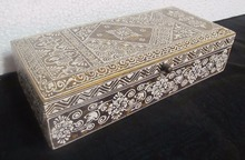 NATURAL FINISH WOODEN BOX WITH HEENA WORK WHITE EMBOSSING FOR HOME DECOR AND GIFT SIB-43B