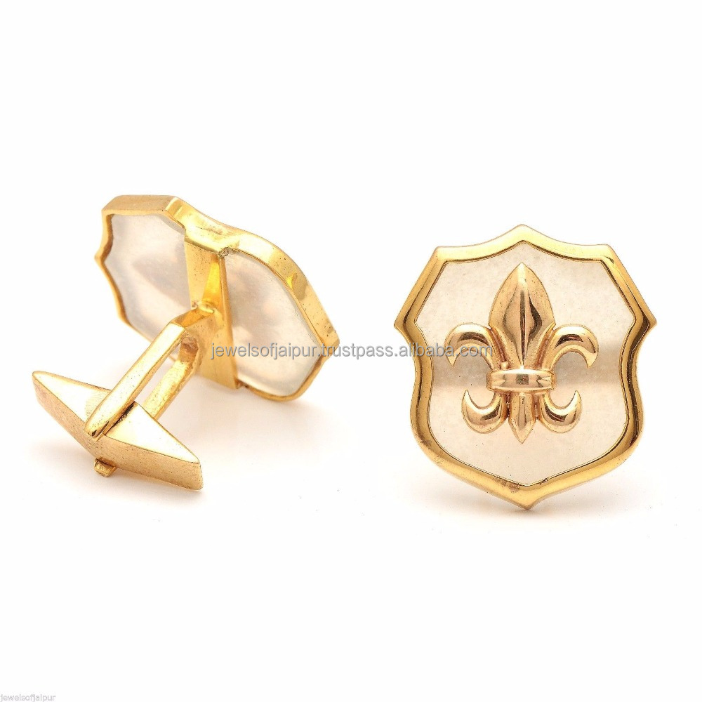 New Arrivals Gold Plated Alloy Fleur De Lis Style Moonstone Men's Wear Cuff links