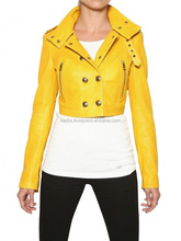 Bike rider Yellow Gold Leather Jacket