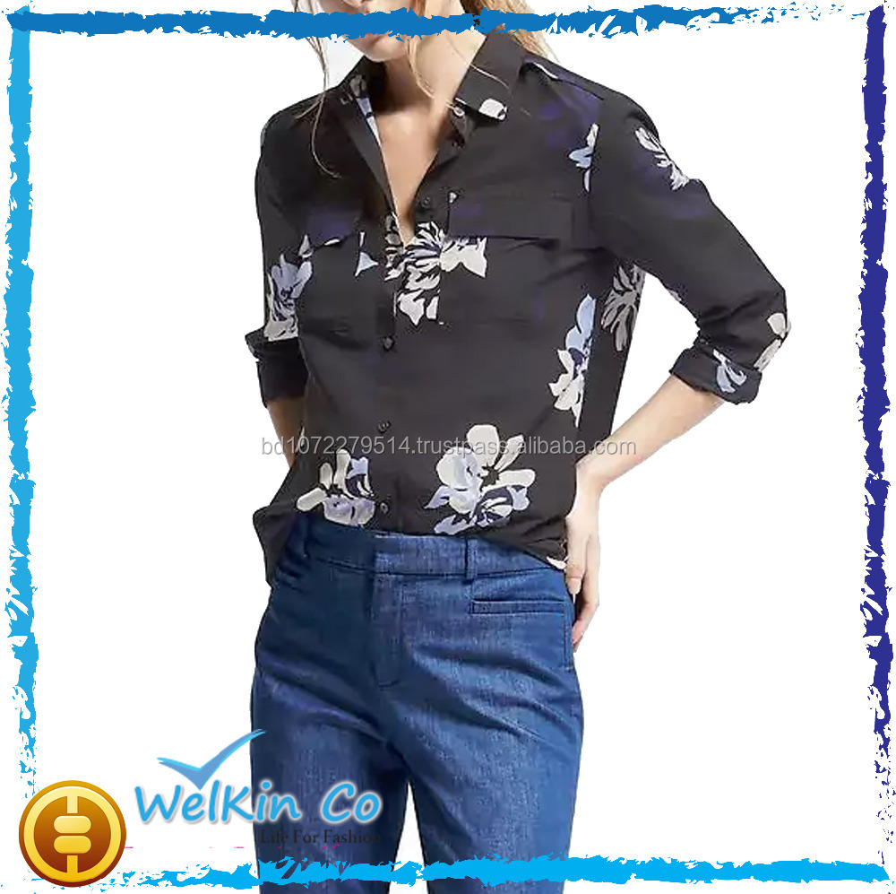 Branded wholesale womens clothes latest casual tops Dillon FIT Floral ladies long shirt