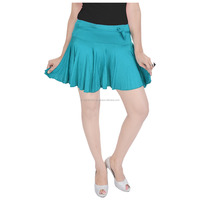 Girls sexy short solid color mini pleated skirt with divider and elastic waist band