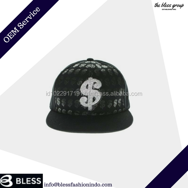 Custom flat brim embroidery and printing snapback cap promotional 6 panel snapback hat