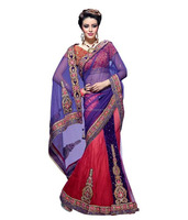 multi color net sarees with net blouse designs