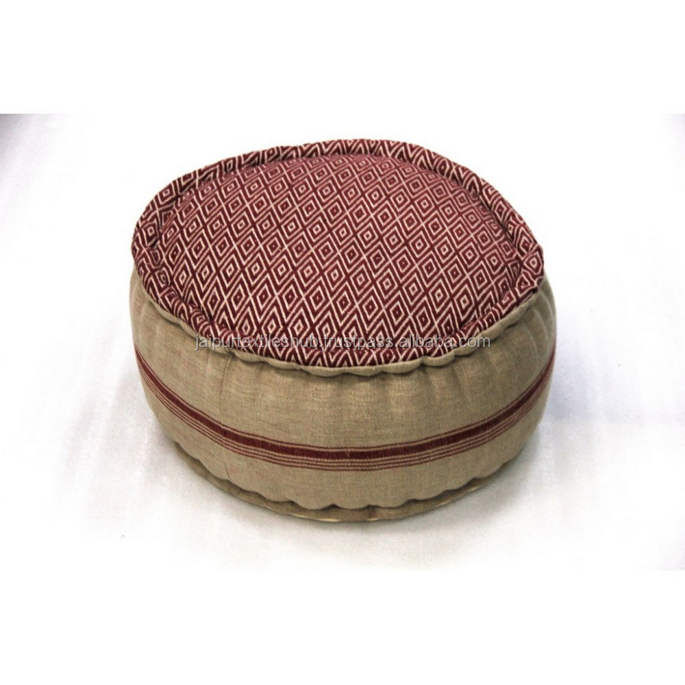 Indian Cotton Geometric Handmade Round Pouf Wholesale Manufacturer