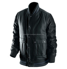 Wool Varsity Bomber Jacket with 100% Genuine Leather Sleeves/Wholesale cheap custom men black varsity jackets