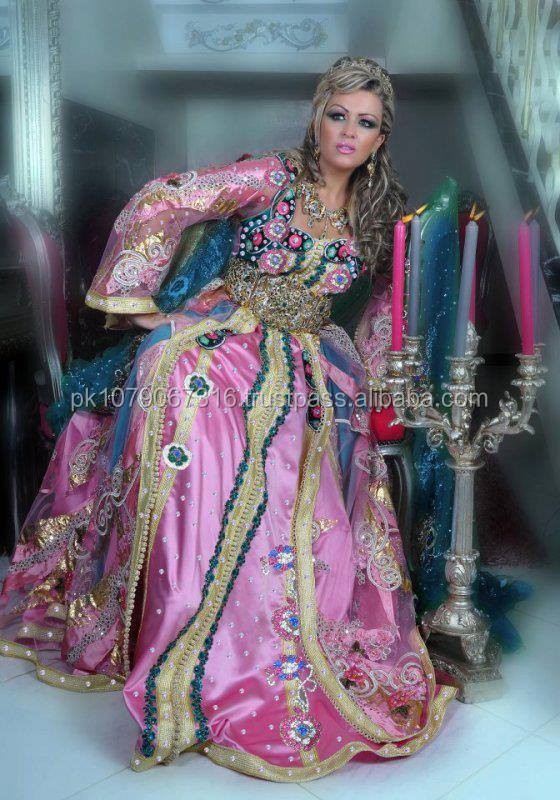 Pink with silver matelic with beautiful hand work elegant kaftan