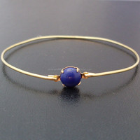 Lapis Lazuli Bangle , 925 Sterling Silver Bangle , Gemstone Bangle