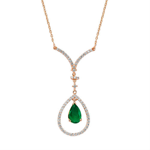 Diamond and emerald Necklace 18K white Gold Jewelry