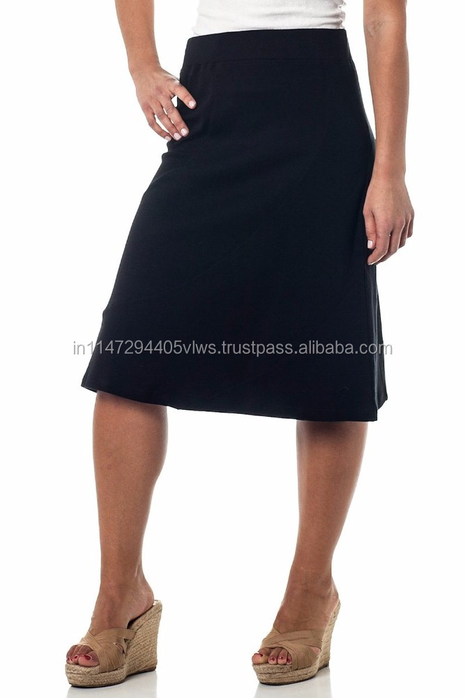New collection women midi A line skirt knee length plain skirts