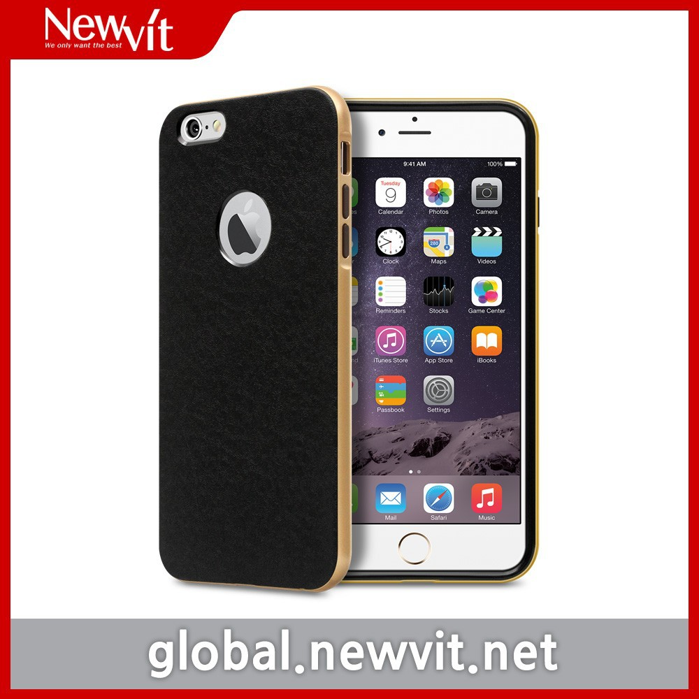 Newvit Back cover 9 for iPhone 6 / Patterned black TPU backside case + metallic PC side bumper