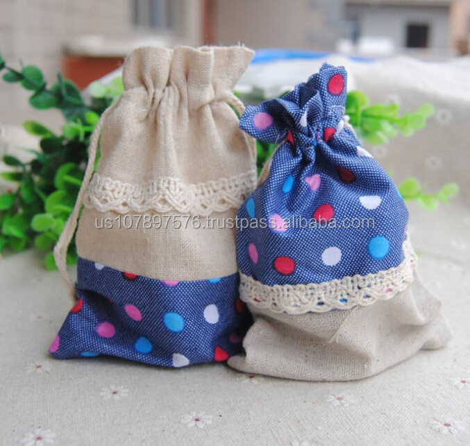 cotton jewelry drawstrong bag, ,mini national style sack