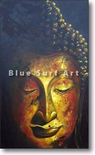 Ayutthaya Buddha in Oil Painting on Canvas