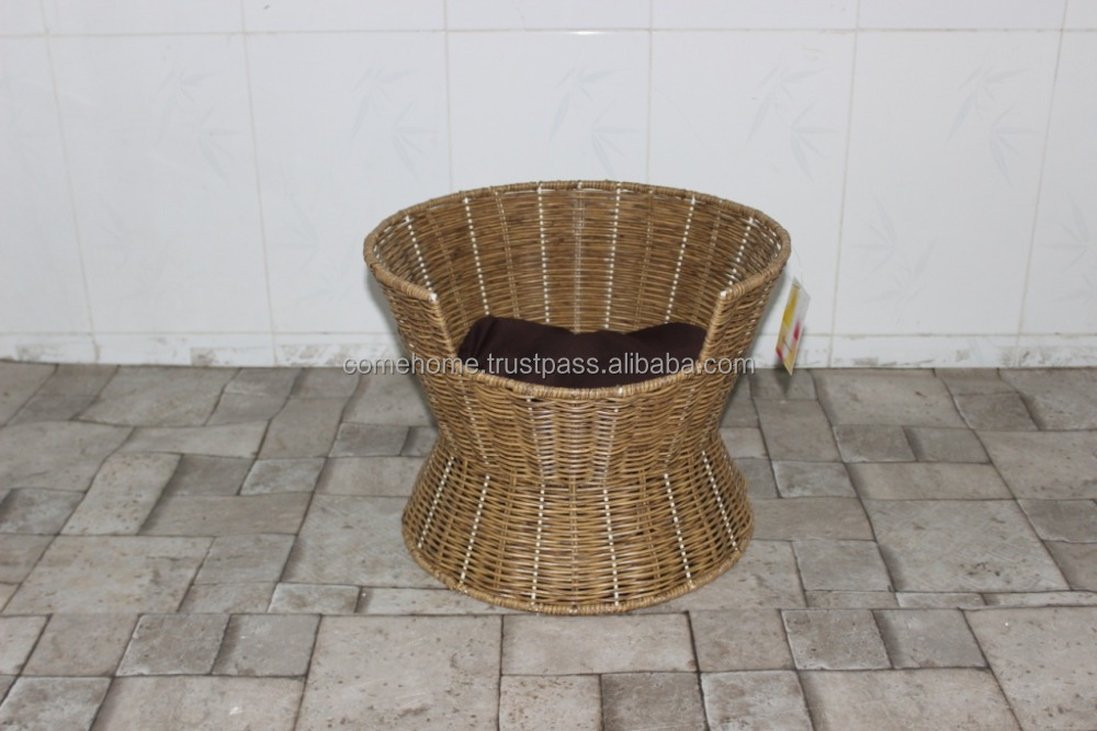 poly wicker Pet basket/ Dog basket bed/ Cat bed with cushion inside, 2015 new product - CH2865