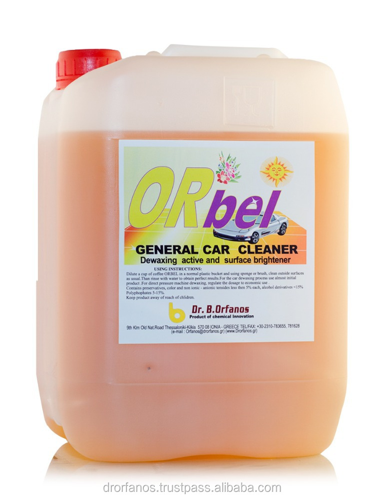 Orbel Ecological general cleaner for car interior and exterior. Safe for aluminium.