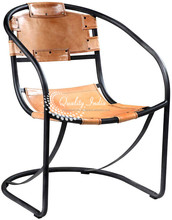 Leather and Metallic Stylish Outdoor Chair