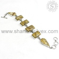 Rajasthani Ethnic High Quality Silver Bracelet, Picture Jasper Silver Jewelry BRCB1073-5
