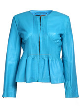 2015 New fashion Cobalt Vogue Blue Womens Leather Jacket for womens