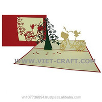 Bicycle and tree pop up 3D handmade paper greeting cards