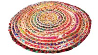 RTHDM-2 Multi Purpose Hand Made Jaipur Traditional Cotton Fabric Colorful Circle Shaped Home Decor Door Mats Manufacturers