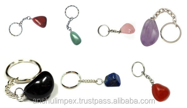 Carnelian Tumbled Stone Keychain as souvenir, collectible and healing