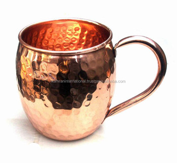 AUTHENTIC MULE MUG OF COPPER, FDA APPROVED 100% PURE COPPER BARREL HAMMERED MOSCOW MULE MUG, ROUND MUG COPPER