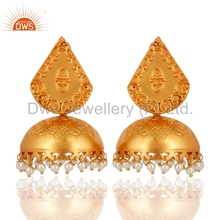 Indian Designer Pearl Jhumkas Gold Plated 925 Silver Traditional Jhumkas Manufacturers of Gemstone Jewelry