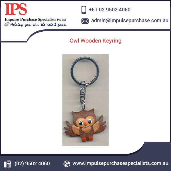 Promotion Wooden Material Owl Key Chains