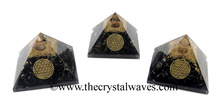 Black Tourmaline Chips Orgone Pyramid With Flower Of Life Symbol