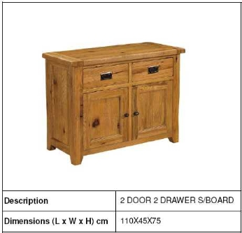 SMALL MODERN NATURAL WOODEN 2 DOOR 2 DRAWERS SIDEBOARD, BEDROOM, HOME FURNITURE