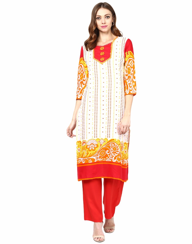 Jaipur Kurti Off-White Cotton Embroidered Kurtas