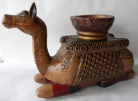 Hand Carved Jerusalem Camel Figure Hand Carved Gift From Holy Land Israel - Wooden Painted Sitting Camel with Candle Holder