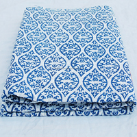 NCPCF-13 Abstrack Vingate Indigo Blue Damask White Voile Indian Wooden Block Printed Cotton Fabric Sanganeri Hand Print Fabric