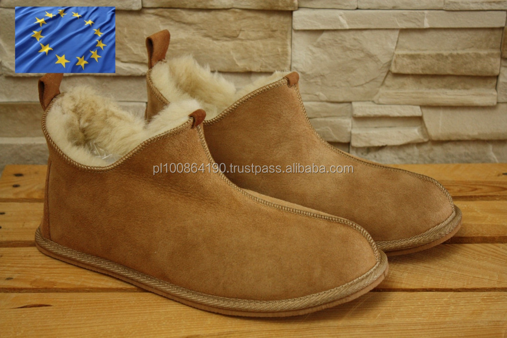Genuine SHEEPSKIN Shoes Natural LEATHER Home Slippers EVA Sole OEM sevice