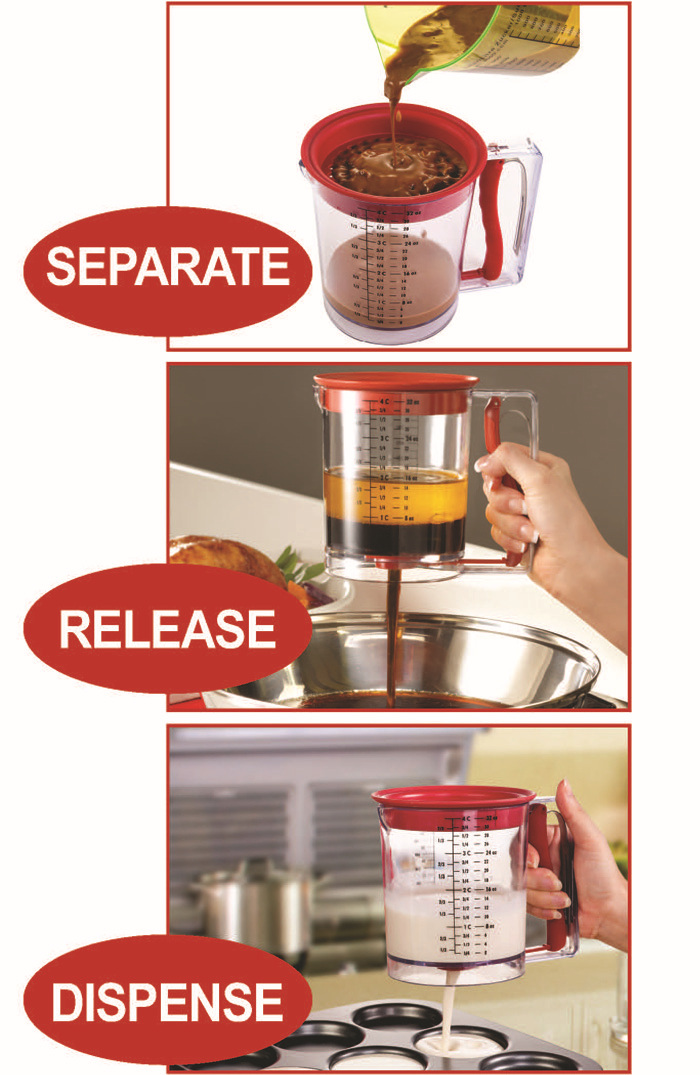 Reliable Company Grease Gravy Separator Plastic, fat Gravy Separator 4 cup, oil Gravy Separator Kitchen
