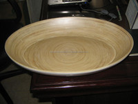 Spun/ coiled bamboo plate for bread/ soup/ fruit serving