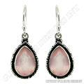 rose quartz earrings sterling silver,bezel gemstone earrings wholesale,Wholesale normal cut pear stone earring pair
