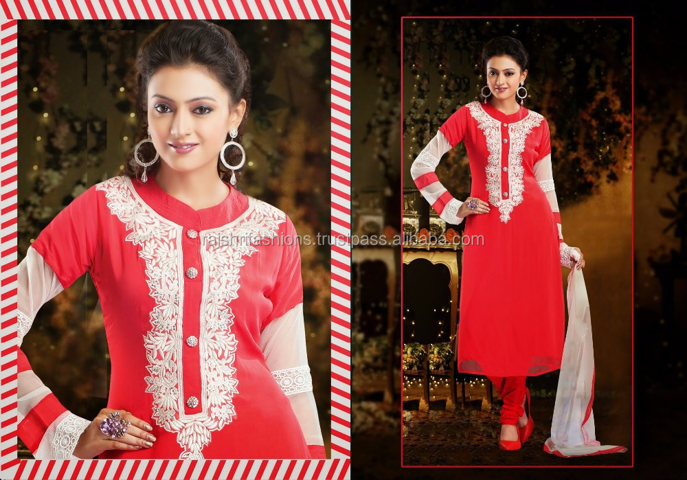 Half Netted Sleeve In White Color For Red Color Salwar Designer Ready Made Salwar Kameez