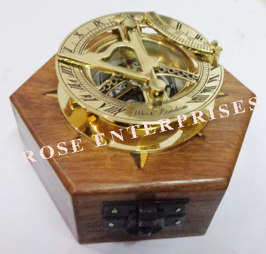 Nautical Vintage Brass Sundial Compass with Hexagon Wooden Box
