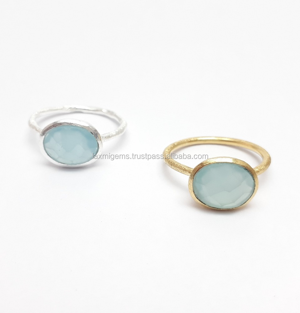 Natural Aqua Chalcedony 925 Sterling Silver Rhodium Plating Handmade Rings Jewelry, 8x10mm Oval, Semi-Precious Gemstone Ring