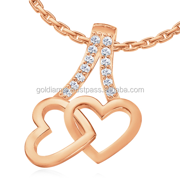 hot sale fashion diamond pendant no zircon two hearts love elegant charm necklace. Hot gift for December birthday gift