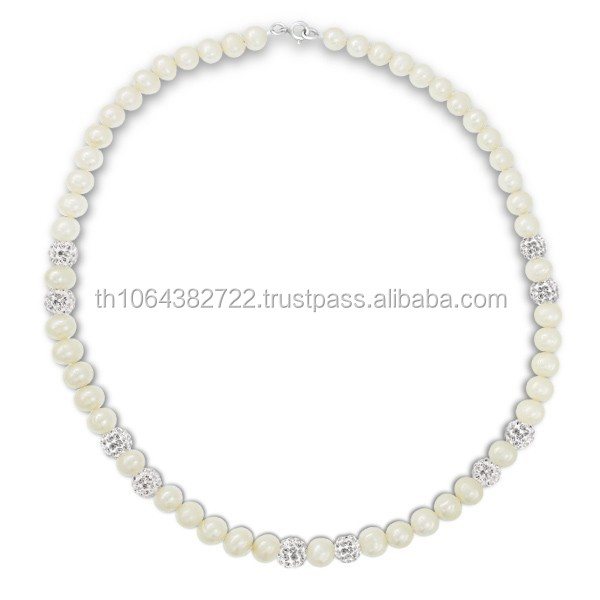 Wholesale Natural Freshwater Pearl Bead Necklace Wholesale Jewelry 925 Sterling Silver Lobster Chain Beaded Jewellery