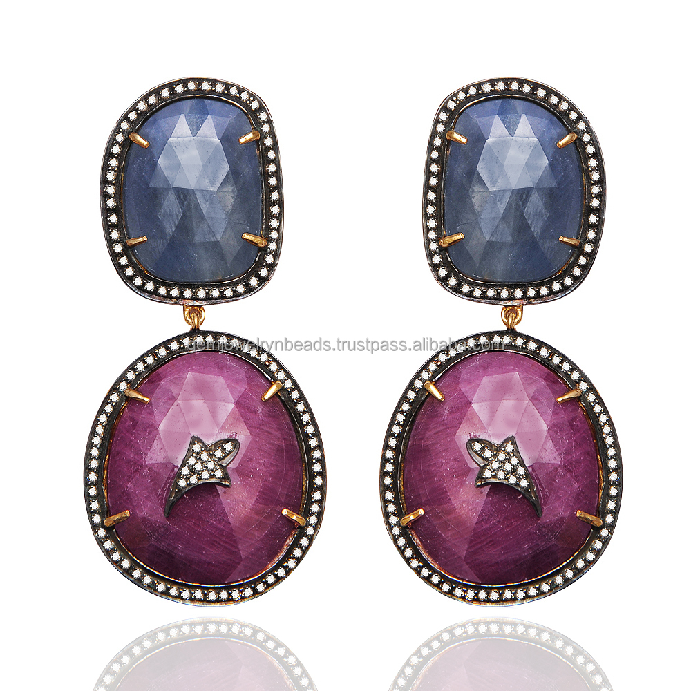 925 Sterling Silver 14k Gold Pave Diamond Ruby Sapphire Gemstone Dangle Earring