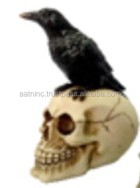 Mini resin skull heads with birds
